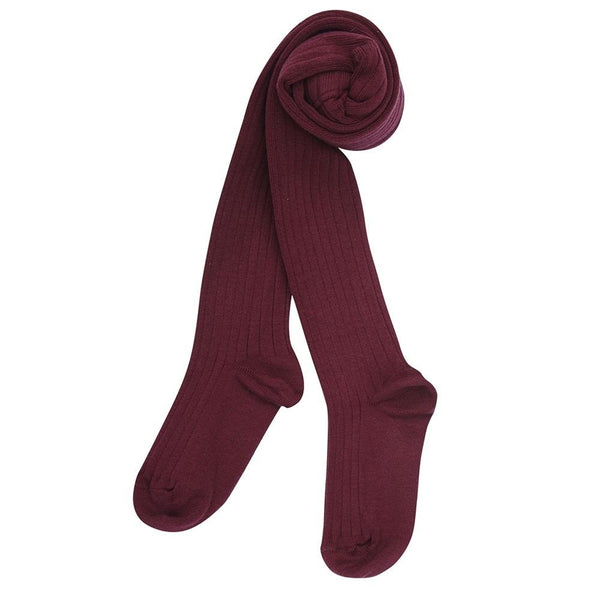 Children's Ribbed Tights - Burgundy - Tights - PEPA AND CO