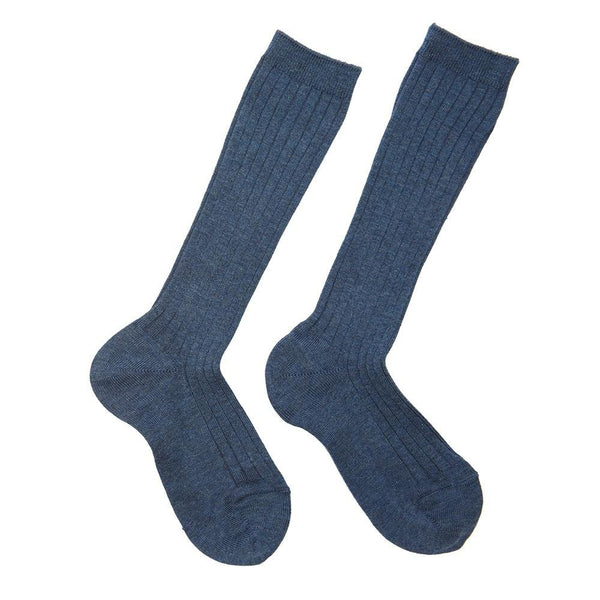 Ribbed high socks - Denim - Socks - PEPA AND CO