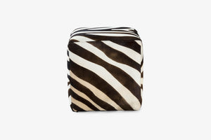 Buenos Aires Pouffe Full Cowhide in Zebra print