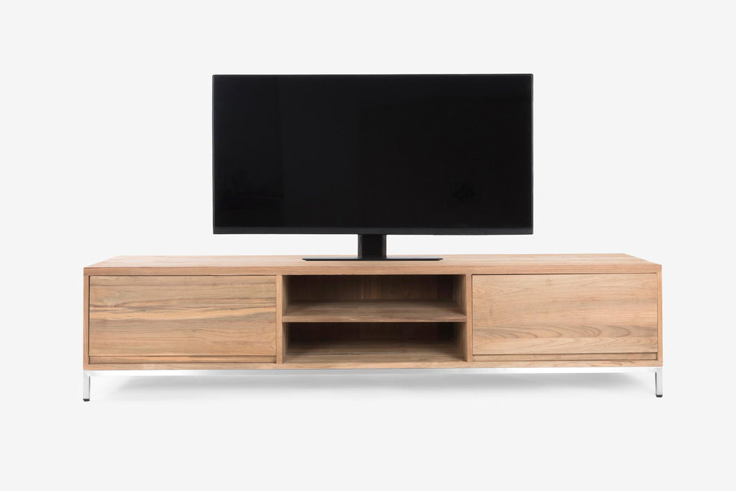 Firenze TV Console w/ 2 Drawers in Stainless Steel Base