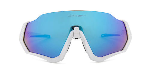 Oakley Flight Jacket White / Blue Lens Mirror Sunglasses