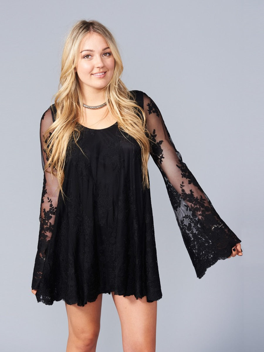 Show Me Your Mumu Fannie Flow Dress Lila Lace Caviar | Vegan Scene