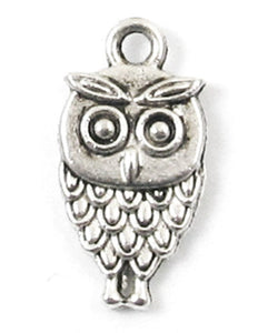 Antique Silver Double Sided Metal Craft Charms - OWL 10x18mm (20 Charms)