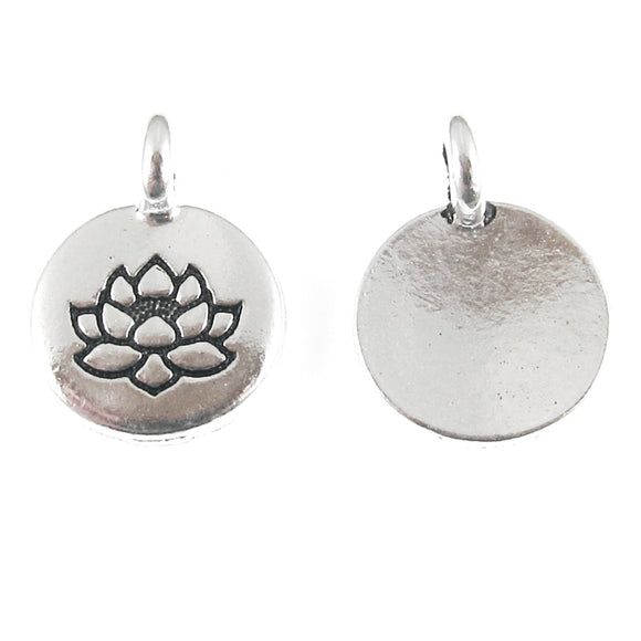 Silver Round Lotus Flower Charm, TierraCast Lead Free Pewter (2 Pieces)