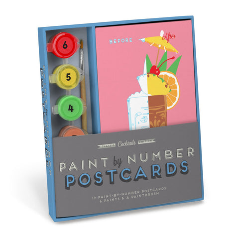 Knock Knock Cocktails Paint-by-Number Postcards Kit