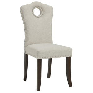 Elise Side Chair in Walnut/Beige (2 Pk)
