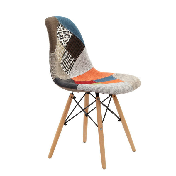Set of 4 Retro Beech Fabric Dining Chair - Multi Colour