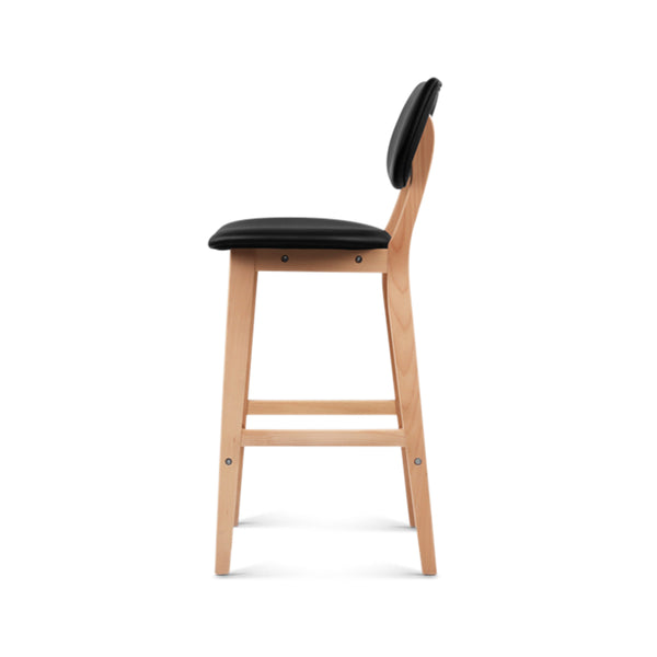 Set of 2 PU Leather Ramsey Bar Stools - Black