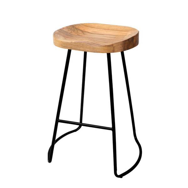 Artiss Set of 2 Wooden Backless 75CM Seat Height Bar Stools - Natural