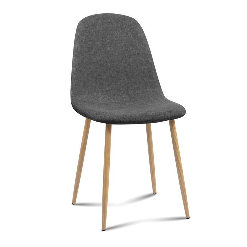 Artiss Set of 4 Adamas Fabric Dining Chairs - Dark Grey