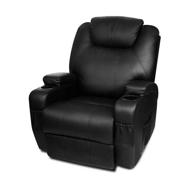 Artiss PU Leather Massage Armchair - Black