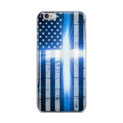 Thin Blue Line American Flag Case With Cross