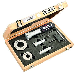 "Starrett S770BXTEZ Electronic Internal Bore Micrometer Set, 3-Point Contact (3/4-2"" (20-50mm) Range), Built-In Bluetooth, 0.00005"" / 0.001mm  Resolution"