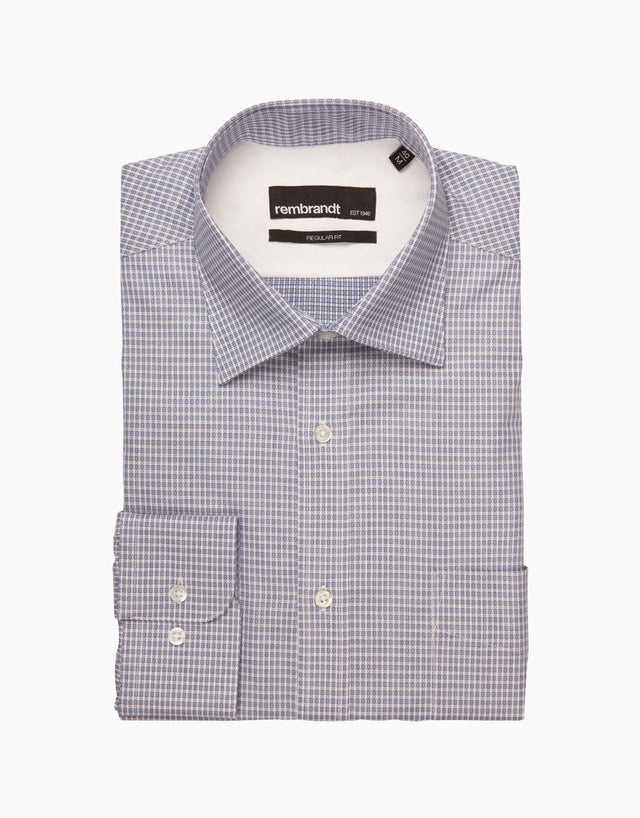 Sinatra Blue Geometric Tailored Shirt
