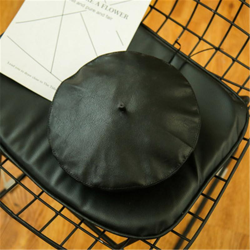 PMS Berets Black / m Beret PU leather painter hat female
