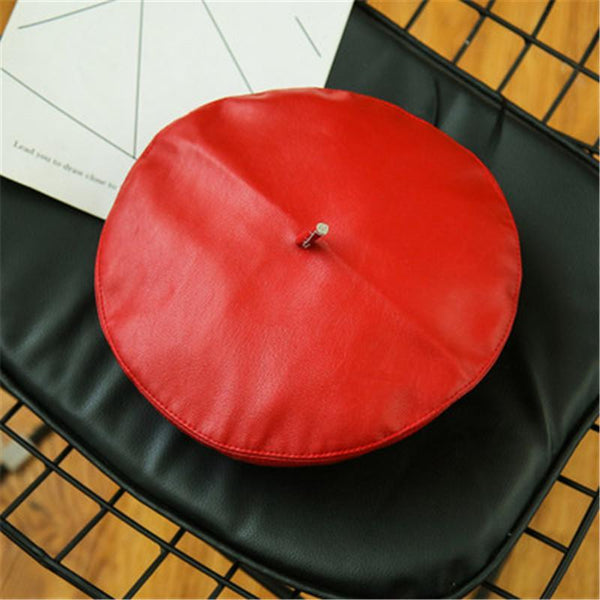 PMS Berets Red / m Beret PU leather painter hat female