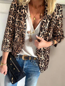 PMS Blazers Fashion Leopard Print Turndown Collar Long Sleeve Blazer