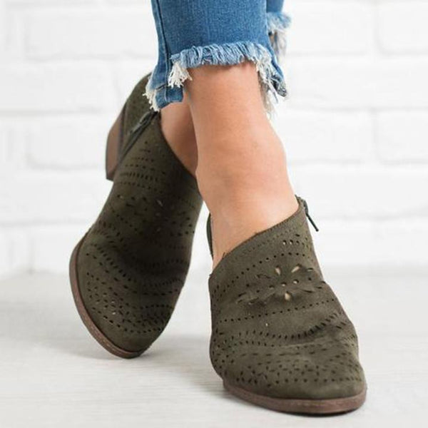 PMS Boots Army Green / 35 Hollow-Out Low   Heel Cutout Booties Faux Suede Zipper Ankle Boots