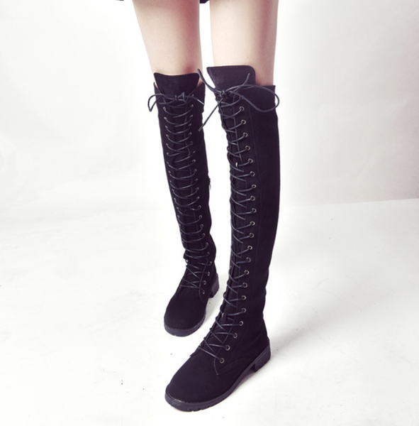 PMS Boots Black / us4 Pure Color Round Head Square Heels Over The Knee Boots