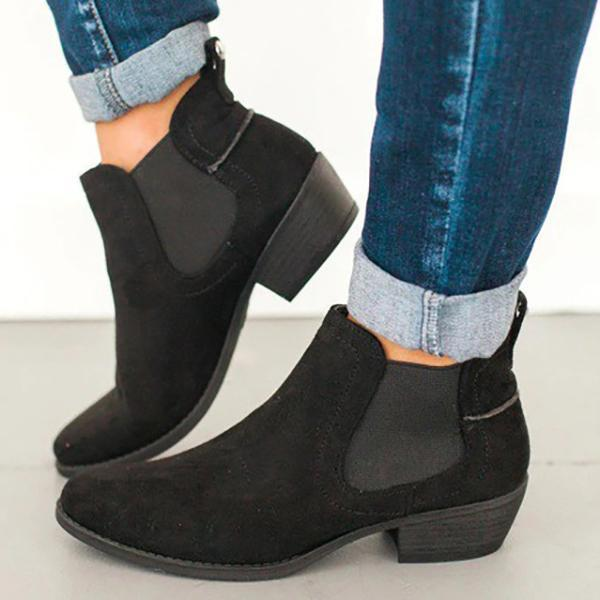PMS Boots black / us5 Fashion Round Toe Suede Ankle Chunky Boots