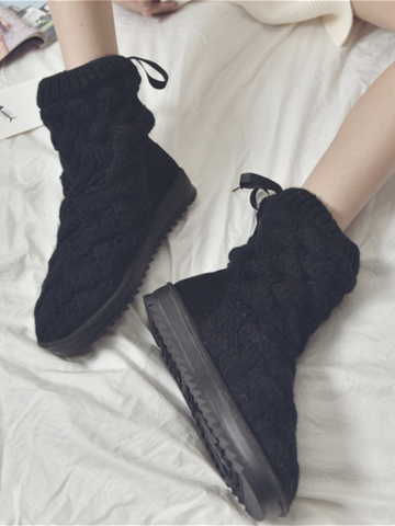 PMS Boots Black / us5 Rubber Knitted Wool Cotton Boots
