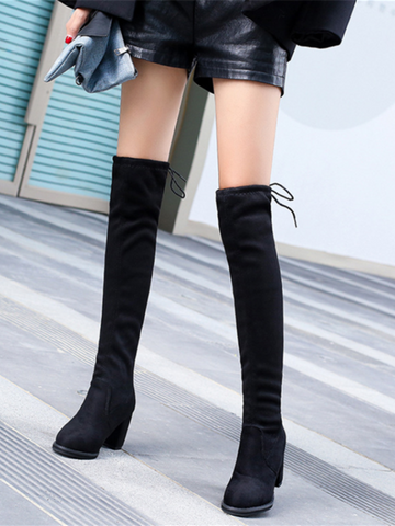 PMS Boots Black / us5 Suede High-Heeled Round Head Lacing Over Knee Martin Boots