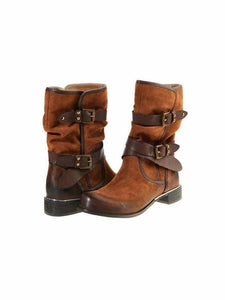 PMS Boots Brown / 35 Autumn and winter women's belt buckle casual leather boots Calf Boots Round