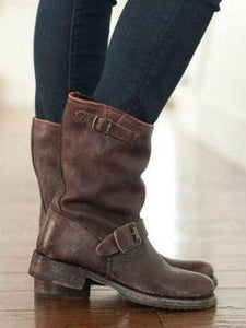 PMS Boots Brown / 35 Punk style autumn and winter new products wild boots with low heel  40-43Women's Boots