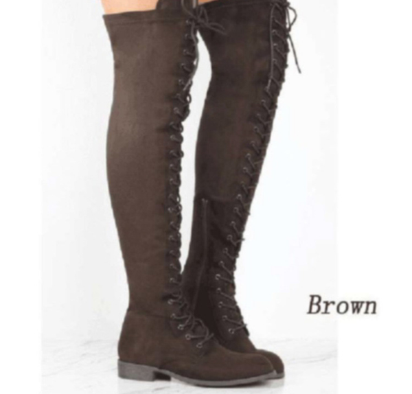 PMS Boots Brown / us4 Pure Color Round Head Square Heels Over The Knee Boots