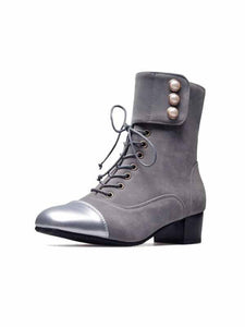 PMS Boots Gray / 35 Autumn and winter new products with square head with pearl lace ankle boots 32-47Women's Boots
