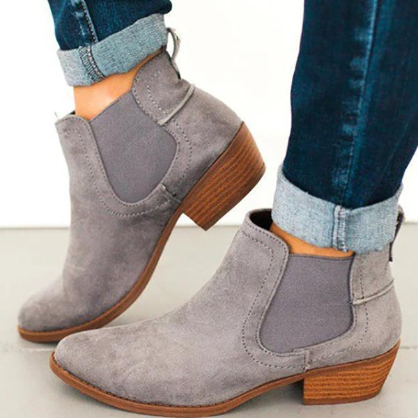 PMS Boots gray / us5 Fashion Round Toe Suede Ankle Chunky Boots