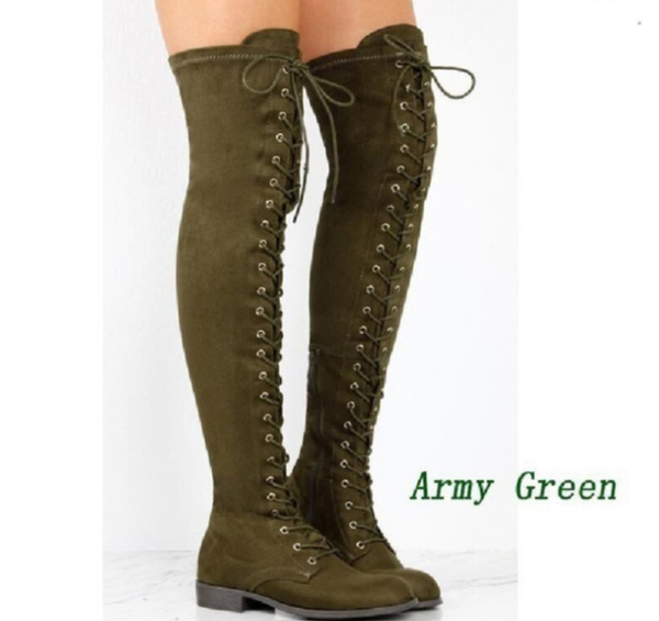 PMS Boots Green / us4 Pure Color Round Head Square Heels Over The Knee Boots