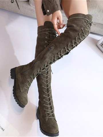 PMS Boots Green / us5 Fashion Suede Frenulum Martin Boots