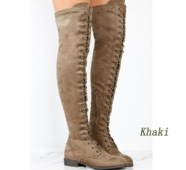 PMS Boots Khaki / us4 Pure Color Round Head Square Heels Over The Knee Boots