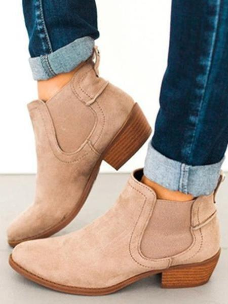 PMS Boots khaki / us5 Fashion Round Toe Suede Ankle Chunky Boots