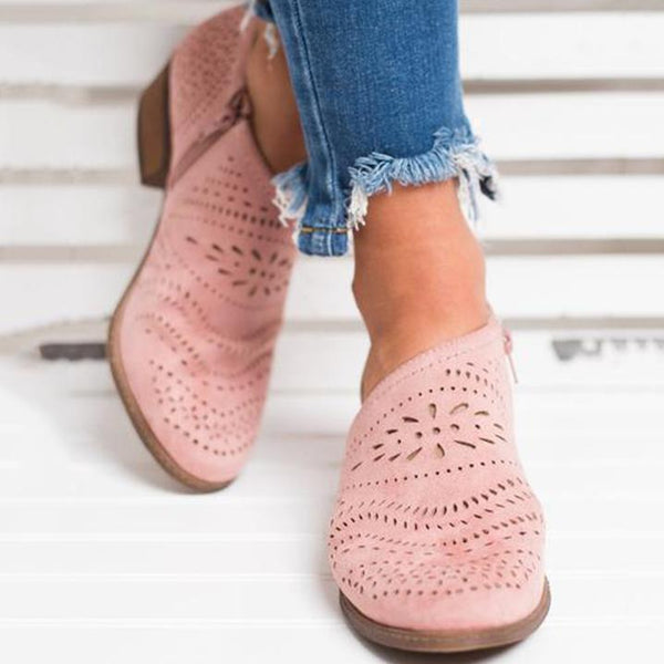 PMS Boots Pink / 35 Hollow-Out Low   Heel Cutout Booties Faux Suede Zipper Ankle Boots
