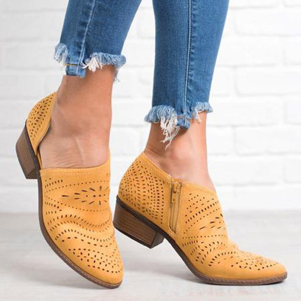 PMS Boots Yellow / 35 Hollow-Out Low   Heel Cutout Booties Faux Suede Zipper Ankle Boots