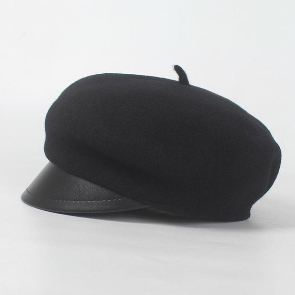 PMS Caps Black / one size Fashion Casual WOOL Octagonal painter hat Peaked cap