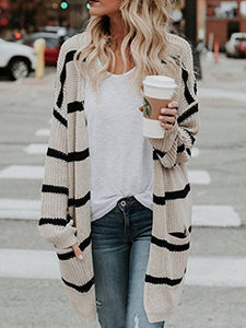 PMS Cardigans apricot / s Easy Fashion Medium And Long Striped Cardigan
