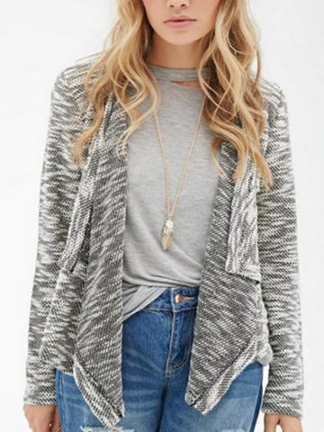 PMS Cardigans gray / s Knitted Patchwork Hollow Lace Irregular Cardigan