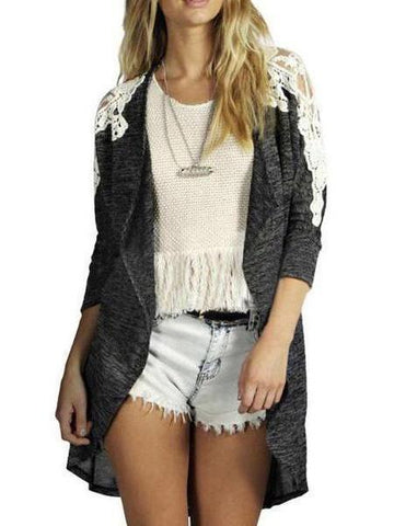 PMS Cardigans gray / s Long Sleeve Lace Patchwork Cardigan