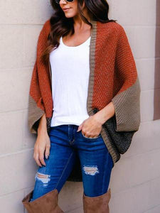 PMS Cardigans same_as_photo / one size Fashion Batwing Sleeve Color Block Cardigans