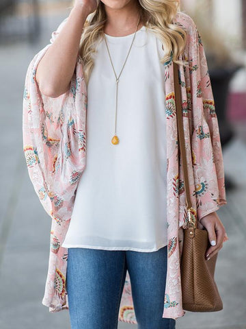 PMS Cardigans same_as_photo / s Floral Printed Chiffon Beach Sun Protected Cardigan