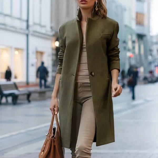 PMS Coats Army Green / s Autumn And Winter   Fashion Pure Color Coat