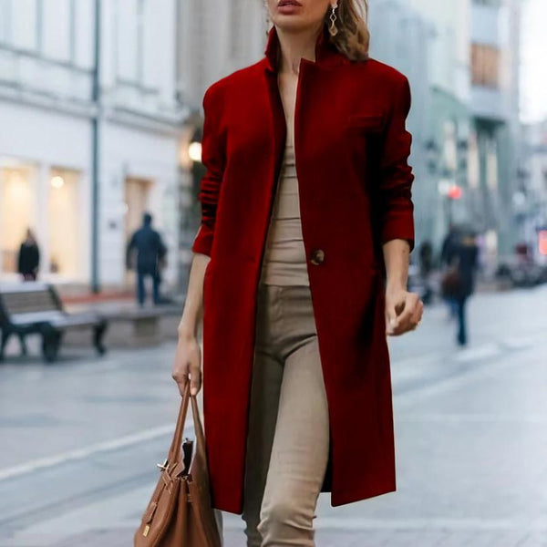PMS Coats Claret / s Autumn And Winter   Fashion Pure Color Coat