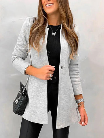 PMS Coats Fashion Pure Colour Tailored Collar Long Sleeve Splicing Coat