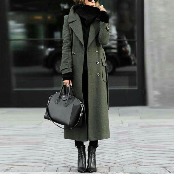 PMS Coats Green / s Women Classic Turn-Down Collar Elegant Trench Long Coat