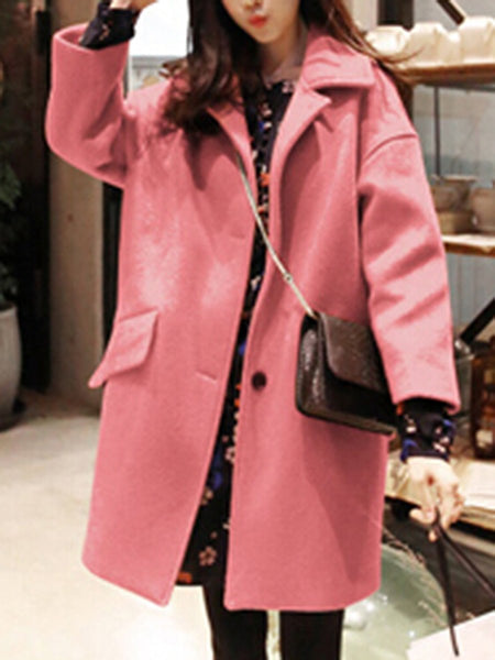 PMS Coats Pink / xs Lapel Flap Pocket Plain Woolen Coat