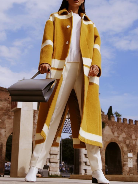 PMS Coats Yellow / s Chic Lapel Yellow White Color Blocking Loose Woolen Long Coat