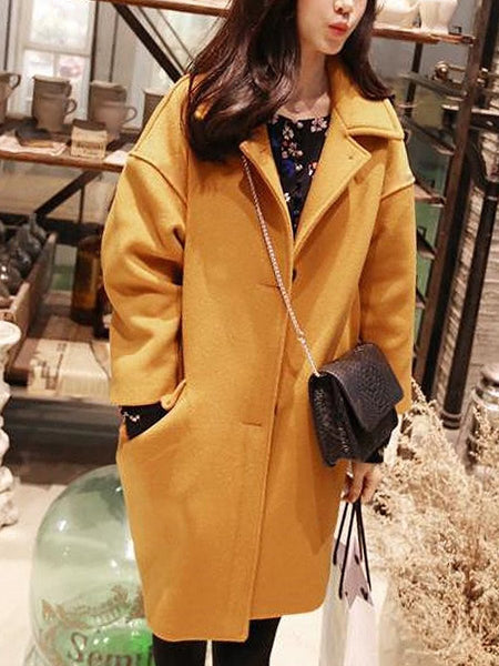 PMS Coats Yellow / xs Lapel Flap Pocket Plain Woolen Coat
